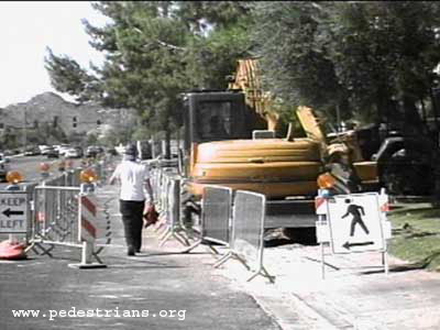 Photo - Keeping sidewalks open for pedestrians during construction in Phoenix, Arizona.