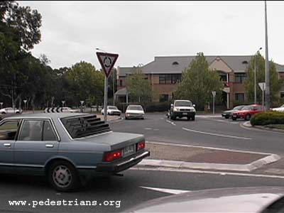 Photo - A roundabout with a poor design for pedestrians.