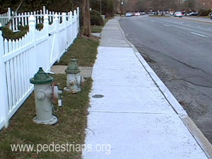 Old and new WSSC hydrants behind sidewalk.